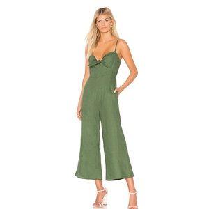 Faithfull the Brand Presley Linen Green Jumpsuit S